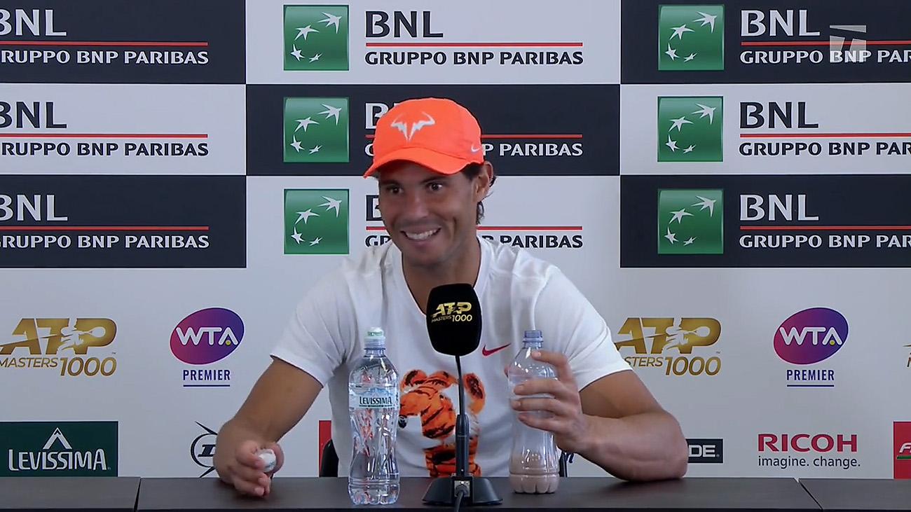 Nadal rocks Tiger Woods shirt in Rome